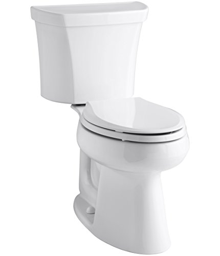 Kohler Highline 1.0 GPF Comfort Height Two-Piece Elongated Toilet with Class Five Flush Technology and Right-Hand Trip Lever, White