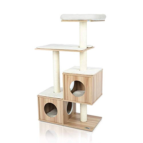 """LAZY BUDDY Cat Tree, 54"""" Wooden Modern Cat Tower, 4 Levels for Cat's Activity, Cat Furniture with Removable and Washable Mats for Kittens, Large Cats and Pets (Small)"""