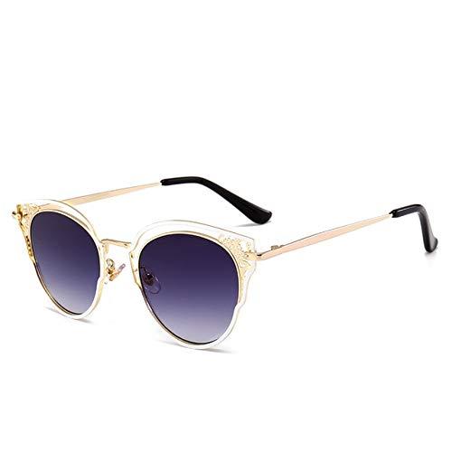 Berrd Gafas de Sol de Ojo de Gato de Moda para Mujer, Lentes de Espejo de Lujo, Gafas de Sol Retro, Metal de Oro Rosa, UV400