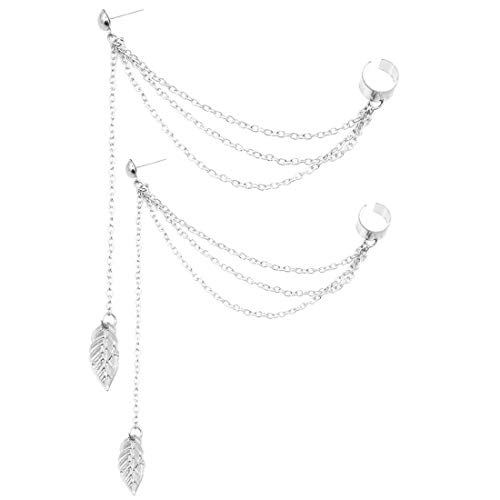 Leaf Tassel Ear Crawler Earring Climber Multi Layered Studs Cuffs Ear Wrap Pin Vine Charm Clip On Jewelry Leaf Silver Plated