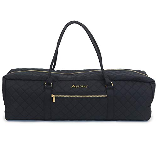 AURORAE Yoga Mat Duffel Bag Extra Large in Solid Quilted Canvas with Embroidery, Outside Pocket with Secure Zipper Closure