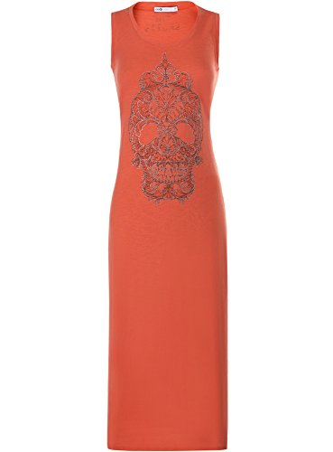 oodji Ultra Damen Maxi-Kleid mit Strass-Totenkopf, Orange, DE 36 / EU 38 / S