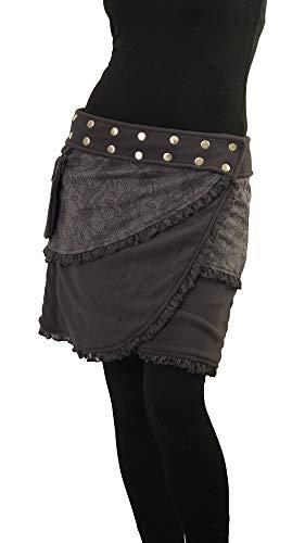 PUREWONDER Damen Wickelrock aus Fleece Winterrock Rock sk240 Grau Einheitsgröße verstellbar