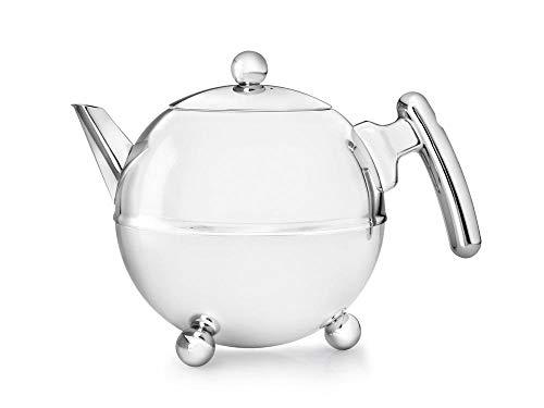 doppelwandige Teekanne Duet® Bella Ronde Edelstahl glänzend verchromte Beschläge 1,2 ltr.
