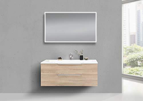 Intarbad ~ Badmöbel Set CUBO 1200 mm Waschtisch Evermite, Unterschrank und LED Spiegel Schwarz Hochglanz Lack