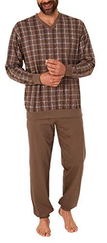 Herren Pyjama Schlafanzug Langarm mit Bündchen Karo Optik - auch in Übergrössen bis Gr. 70, Größe2:58, Farbe:braun