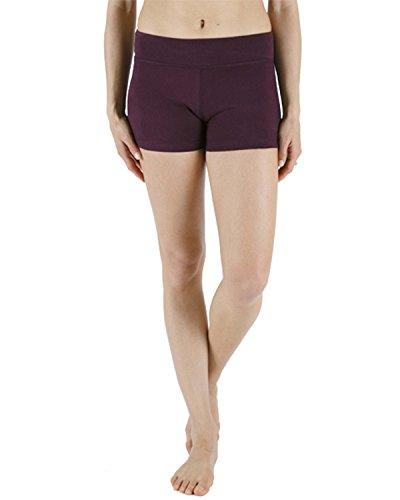 Chin Mudra Pantaloncini da Yoga 95% Cotone Biologico e 5% Lycra–Prugna, Viola, XL