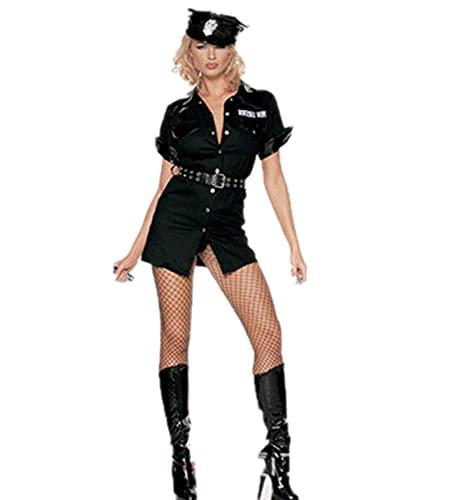 Costume da poliziotto sexy da donna poliziotto costume lingerie set di ruolo polizia uniforme impertinente (1#, taglia unica)