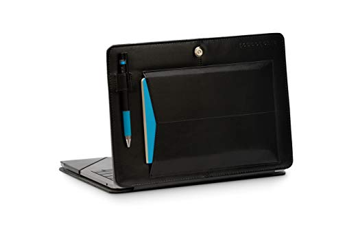 """Bluebonnet Leather MacBook 13"""" Pro & Air Case - 2016 2017 2018 2019 Release for A1932 A1706 A1708 A1989 A2159 A2179 with Exterior Pocket, Pen Holder, Magnetic Clasp Closure and Kickstand (Black)"""