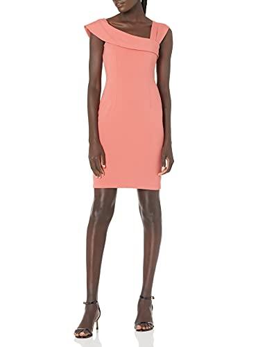 Lark & Ro Women's Asymmetrical Flounce Neckline Sheath Dress, Faded Rose, 6 (Apparel)