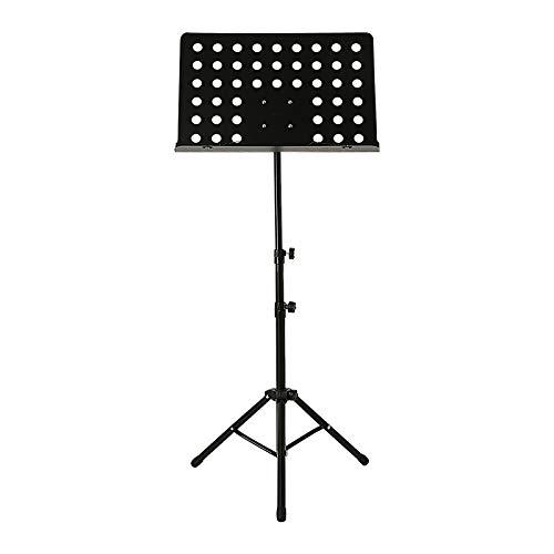 AllRight Notenständer Orchesterpult Schwarz Stabil Ausziehbar Zusammenklappbar 2 Federklemmen Höhenverstellbar 64cm bis 115cm aus Metall