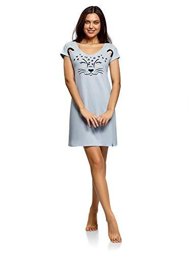 oodji Ultra Damen Hauskleid mit Applikation und V-Ausschnitt, Blau, DE 38 / EU 40 / M