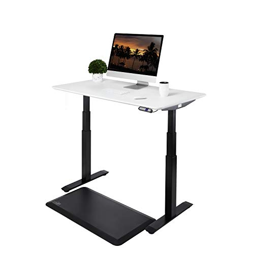 "Seville Classics AIRLIFT Pro S3 54"" Solid-Top Commercial-Grade Electric Adjustable Standing Desk (51.4"" Max Height) Table - Black/White"