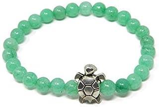 Bracciale elastico con palline di giada verde crisoprasio e tartaruga