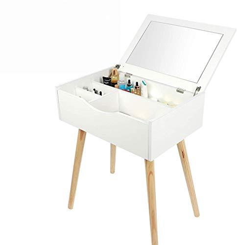 GOTOTOP Tocador de Maquillaje, Mesa Cosmética con Espejo Plegable y 4 Compartimentos,...