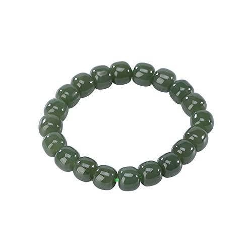 Pulsera de Cuentas de Piedras Preciosas hetianas Naturales for Las Mujeres (en el Estiramiento) 9 mm, círculo Liso Retro Barril Beads