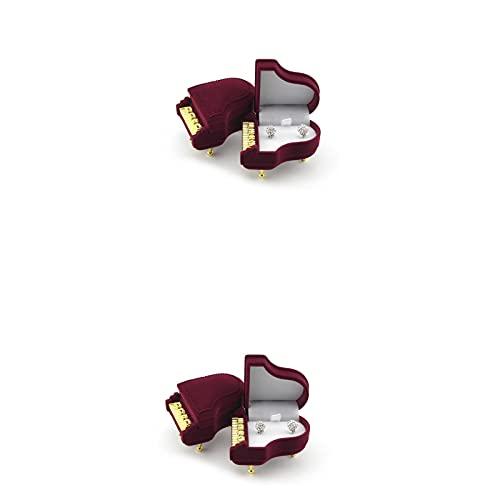 SHOWWE Caja de regalo para anillos de propuesta, 2 unidades, caja de regalo para collares, joyas, caja creativa romántica de cumpleaños para decoración de almacenamiento de 5 x 4 cm (piano)