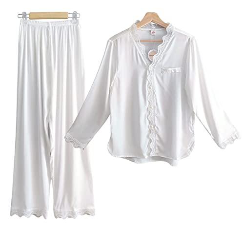 Laura Lily - Pijamas Mujer de Seda satén con Encaje Bordado, 2 Piezas Camisa con Botones y Pantalones Largos, Suave, Cómodo, Sedoso y Casual. (Blanco, M)