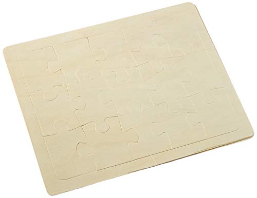 Glorex Puzzle zum Bemalen, 15-teilig, Holz, Natur, 32 x 20 x 0,5 cm