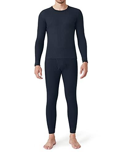 LAPASA Herren Skiunterwäsche Baumwolle Thermounterwäsche Set Funktionsunterwäsche für Ski Snowboard Wandern Reisen M60 MEHRWEG (XL, Navy Blau New)