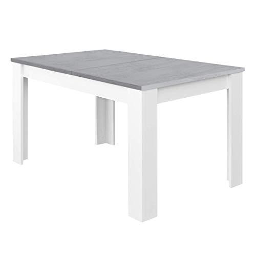 Habitdesign Mesa de Comedor Extensible, Mesa salón o Cocina, Acabado en Color Blanco Artik y Gris C