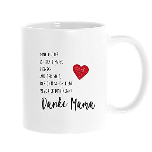 stempel-fabrik Keramiktasse Weiß mit Aufdruck - Danke Mama - Muttertagsgeschenk - Kaffeetasse mit Spruch - Tasse Muttertag - Kaffeetasse - Kaffeebecher - Teetasse - Geschenkidee - Geburtstagsgeschenk