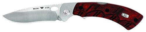Buck Knives 556 Open Season Skinner Folding Knife with Sheath, Dymalux Red Wood Handle, 3-3/4' 420HC Drop Point Blade