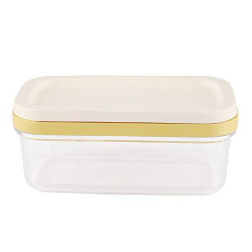 Plato de mantequilla con tapa de sellado y cortador, Mantequilla de vidrio para queso y manteca para encimera de mesa de refrigerador, 6.7 x 3.9 x 2.8 in