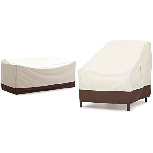 AmazonBasics Griffen 3-Seater Sofa Cover & Lounge Deep Seat Furniture Cover, Set of 2