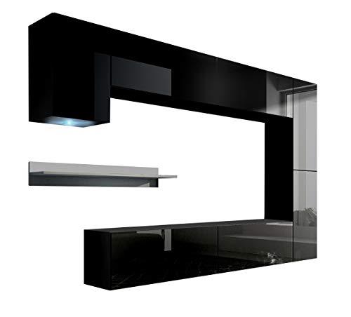 HomeDirectLTD Future 6 Moderne Wohnwand, Exklusive Mediamöbel, TV-Schrank, Neue Garnitur, Große Farbauswahl (RGB LED-Beleuchtung Verfügbar) (Schwarz MAT Base/Schwarz HG Front, RGB)
