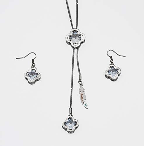 Conjunto de joyas de collar y pendientes para mujer, diseño glamuroso, juego de joyas para las cuatro estaciones