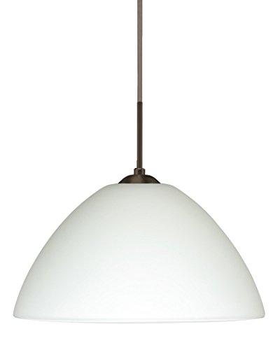 Besa Lighting 1JT-420107-LED-BR 1X6W GU24 Tessa LED Pendant with White Glass, Bronze Finish