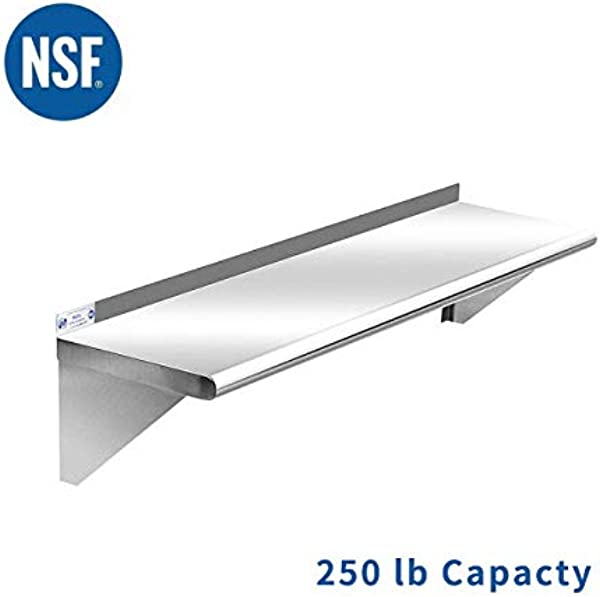 Commercial Stainless Steel Kitchen Shelf 12 X 36 Inches 250 Lb NSF Certificated Wall Mount Shelving For Home Hotel And Restaurant