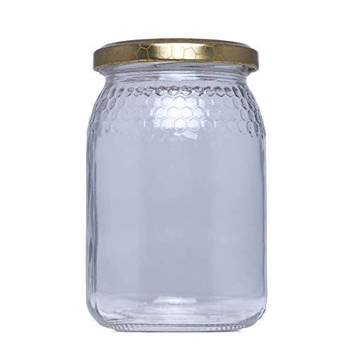 Tarros de Cristal para Miel de 1kg tarros para Miel con Cierre hermético/Pack 32 Unidades para Miel con Tapas Incluidas .Tarro para Miel con Grabado de celdillas en el Vidrio. (32)