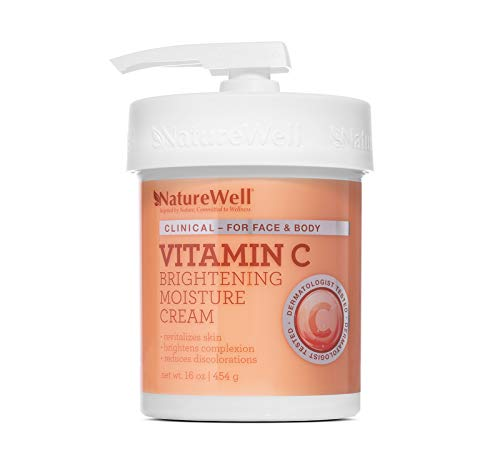 NATUREWELL Vitamin C Brightening Moisture Cream for Face and Body, Reduces Discoloration, Revitalizes Skin, 16 Oz
