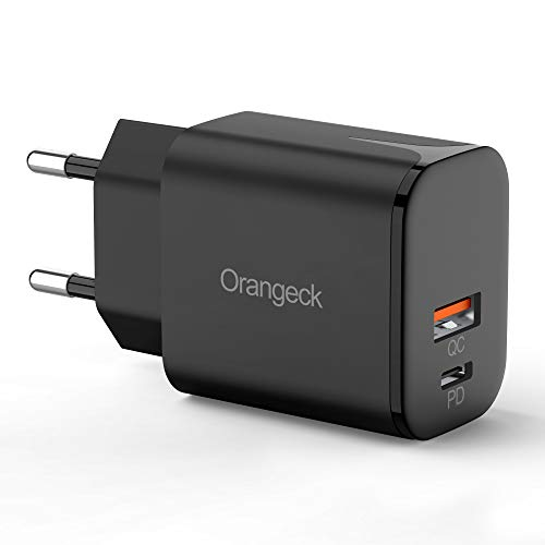 Orangeck USB C Cargadores, 18W Cargador USB Pared con QC3.0 Carga Rápida Mini Doble Puerto Adaptador de Red Enchufe Cargador Móvil para iPhone 11 Pro X MAX, Galaxy S10 S9, iPad Pro etc. (Black)