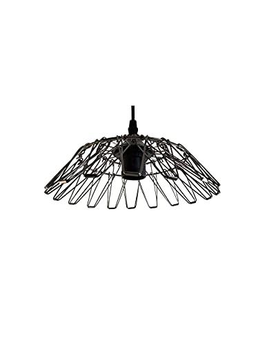 Lámpara colgante de metal multiforma (4 unidades, casquillo E27, negro mate, con cable 1,1m)
