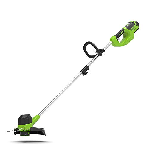 Photo of Greenworks Battery Lawn Trimmer G40LT (Li-Ion 40V 30 cm cutting width 7000rpm variable speed control turnable & tiltable motor head adjustable additional handle Flowerguard without battery & charger)