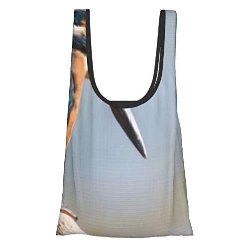 Einkaufstasche mit Tier-Eisvogel-Motiv, wiederverwendbar, faltbar, umweltfreundlich, wasserdicht, Ripstop-Beutel