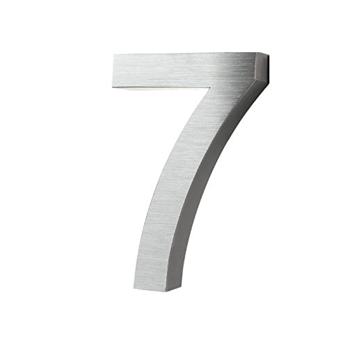 KOBERT GOODS Hochwertig Modern Gebürstet Edelstahl V2A Hausnummer 7 klassisch 3D-Effekt Design Wetterfest und Rostfrei inklusive Montage-Material Höhe 20cm Tiefe 3cm Groß für Haus und Gartenzaun