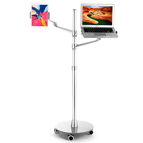 Magichold Height Adjustable Laptop Tablet Stand Mount with Double arms and Base Rolling Wheel for Laptop (11-17 inch) and Compatible with iPad Pro 12.9 inch / Tablet / Ereader
