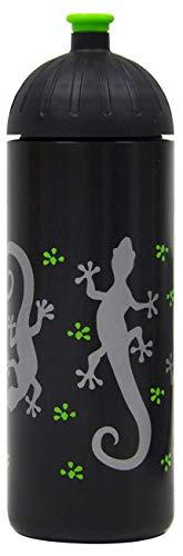 ISYbe Original Marken-Trink-Flasche für Kinder und Erwachsene, 700 ml, BPA-frei, Gecco schwarz-Motiv geeignet für Schule-Reisen-Sport & Outdoor, Auslaufsicher auch mit Kohlensäure, Spülmaschine-fest