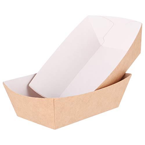 Hemoton Bandeja de Comida de Papel Kraft de 100 Piezas Bandeja de Comida de Cartón Desechable Canasta de Comida Rápida para Papas Fritas 12 X 8 X 3. 5 Cm