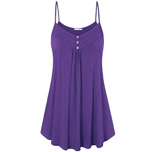 Camisola Mujer Sexy Sin Mangas Cuello V Color Sólido Tirantes Falda Botones Decorativos Verano Suelto Vestido Mujer Fiesta Discoteca Mujer Tops K-Purple S