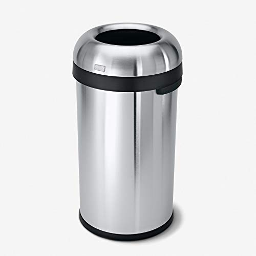 simplehuman 60 Liter / 16 Gallon Bullet Open Top Trash Can Commercial Grade Heavy Gauge Brushed Stainless Steel