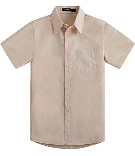 Spring&Gege Boys' Short Sleeve Dress Shirts Formal Uniform Cotton Solid, Beige, 9-10 Years