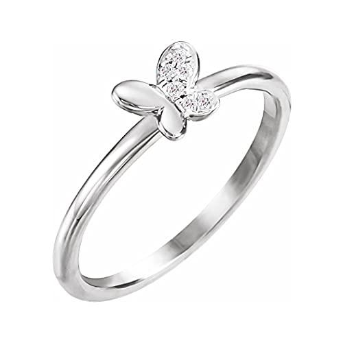 Anillo de oro blanco de 14 quilates pulido con 3 diamantes de 02 quilates y alas de ángel, talla F