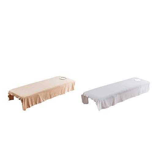 Milageto 2pcs Soft Velvet Cosmetic Massage Table Cover Spa Bed Flat Sheet Camel/White