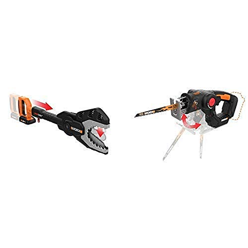 WORX WG320 JawSaw 20V PowerShare Cordless Electric Chainsaw with Auto-Tension with WX550L.9 20V AXIS 2-in-1 Reciprocating Saw and Jigsaw with Orbital Mode, Variable Speed and Tool-Free Blade Change