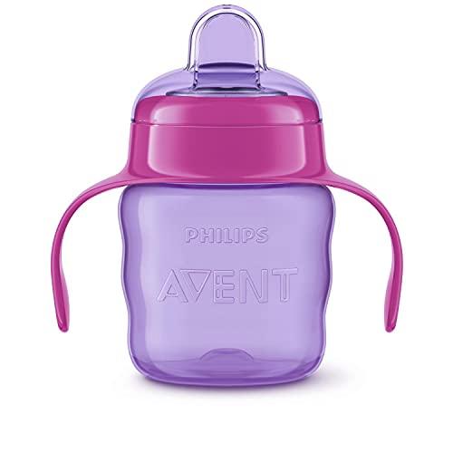 Philips Avent SCF551/03 - Vaso con boquilla de silicona para niña, válvula antigoteo, sin...